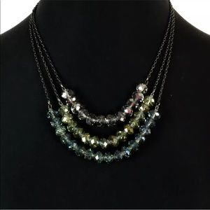 Express Beaded Iridescent Statement Necklace